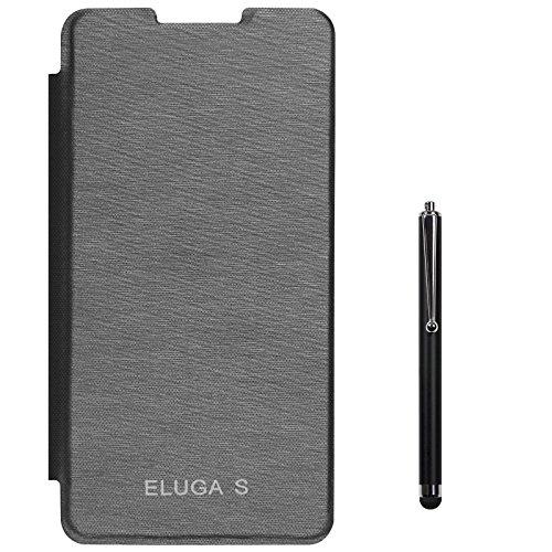 DMG Hot Pressed Durable Leather Flip Cover For Panasonic Eluga S (Black) + Stylus