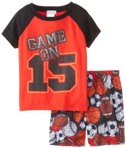 Komar Kids Big Boys' Sports Pajama Short Set, Black, Small