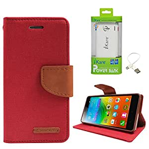 DMG Premium Canvas Diary Wallet Folio Book Cover for Lenovo K3 Note (Red) + 6600 mAh Power Bank