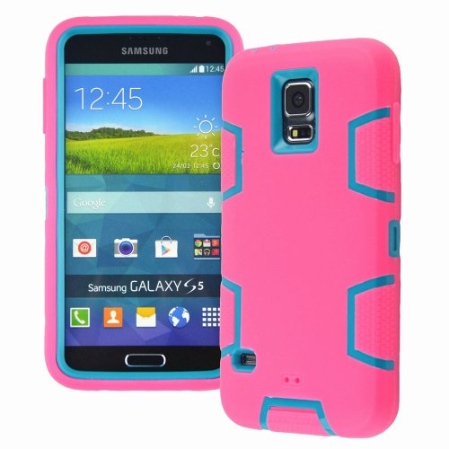 M-Zebra Samsung Galaxy S5 I9600 Robot Series Dual Layer Hybrid Armor Defender Case, With Screen Protectors+Stylus (Black)+Cleaning Cloth (Hot Pink & Blue) front-306760