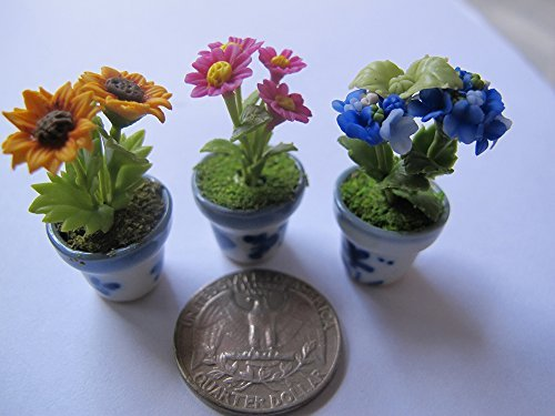 3 Lovely Mix Plant Flower Dollhouse Miniature ,Home Decoration