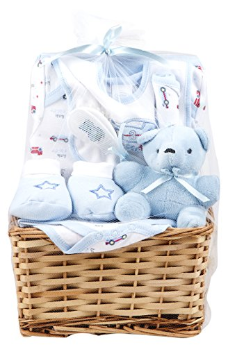 Big Oshi Baby Essentials 9 Piece Layette Basket Gift Set, Blue