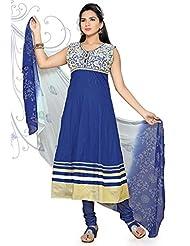 Utsav Fashion Women's Blue Cotton Readymade Anarkali Churidar Kameez-Small