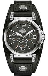 Harley-Davidson Men's Road King Chronograph Leather Cuff Watch, Black 76B173