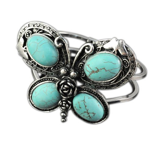 Charm Elegant Fashion Butterfly Shaped Bangles, Cracked Blue Turquoise Embellished,br-1198