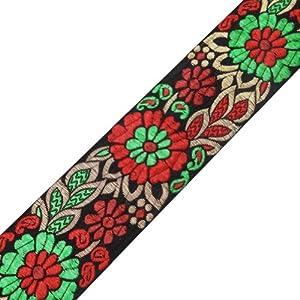 Designer Indian Jacquard Trim Multi Color Floral Pattern Sewing Ribbon Lace 3 Yard