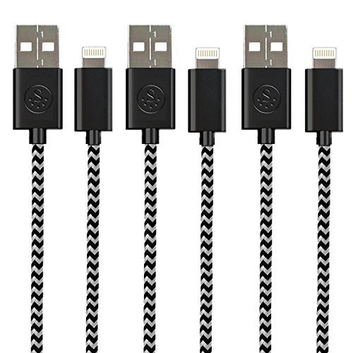 THE #1 Rated Nylon Braided SideTech (TM) 3 Feet 8 pin iPhone 5 / iPhone 6 Cable. High Quality and Durable (Black Nylon x 3, SHIPPED IN SAME BUSINESS DAY. Compatible with new iOS) (Hello Kitty Iphone 6 Car Charger compare prices)
