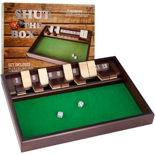 SHUT THE BOX Game - 12 Numbers - Includes Dice SHUT THE BOX Game - 12 Numbers - Includes Dice