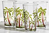Tropix Set of 4 Palm Acrylic Highball Glasses