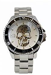 Marc Ecko Mens Quartz Black & Silver Skull Dial Coin Edged Bezel Stainless Steel Watch E11575G2