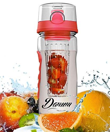 Danum Fruit Infuser Water Bottle - Large 32oz Infusion Sports Bottle (Coral)