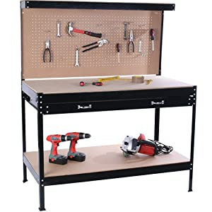 Jago WEBA01 Workbench Worktable / Dimensions workbench: approx. 140 x 115 x 55cm (HxWxD)