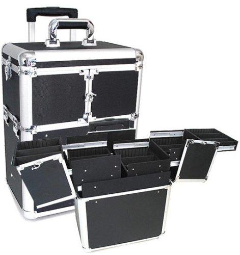 "Professional Rolling Makeup Case in Black (Black) (18""H x 9.5""W x 14.5""L)"