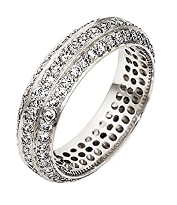 Mens Sterling Silver, Three Row Pave 6MM Wedding Band, 1 1/3 cttw