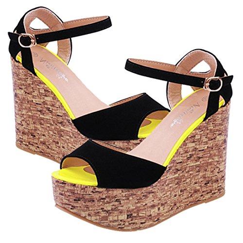jeansian Moda Donna Scamosciato Piattaforma Sandali Scarpe col Tacco la Zeppa Wedges Sandals WSB039 Black 38