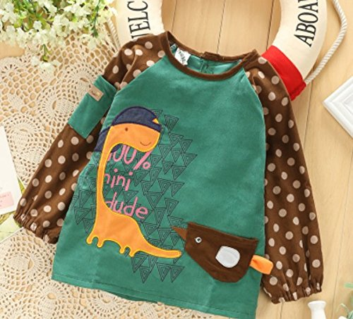 1 Pcs,Children'S Drawing Aprons For Baby Painting Gowns,Eating Aprons Oil,Artists Classroom Painting Playing Aprons- And Waterproof,Environmental Fabric Breathable Sanitary And Comfortable,Green Clothes Size Length 48.5Cm,Sleeve 43Cm,Semi-Bust 39Cm