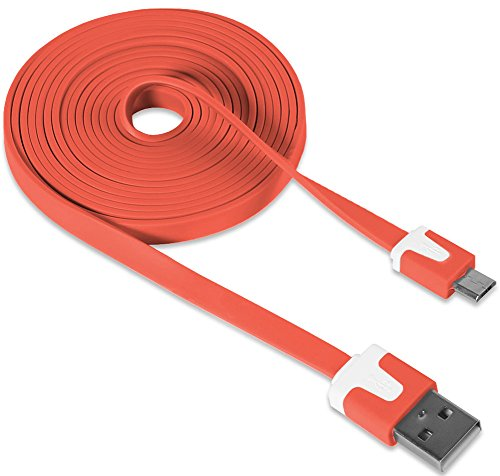 "Mylife Burnt Orange {Neon Colored Flat Noodle Design} 6' Feet (1.8 Meter) Quick Charge Usb 2.0 Micro Usb To Usb Data Sync Cord For Phones, Cameras, Tablets And Gps Devices ""See Compatibility"" (Durable Rubber Coat) front-348494"