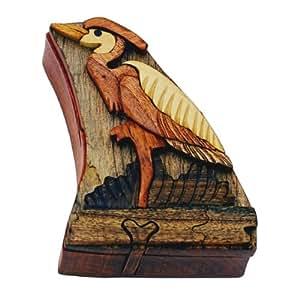 Amazon.com - Handmade Wooden Intarsia TRICK SECRET Heron 1 Bird Puzzle
