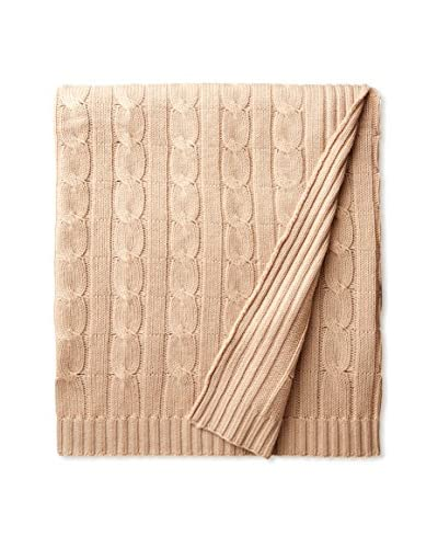 a & R Cashmere Wool & Cashmere Cable Knit Throw, Oat
