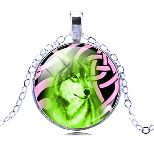 Unisex Hot Sale Fluorescent Green Wolf Pink Knot Wallpaper Pendant Necklace Fashion Birthday Gift