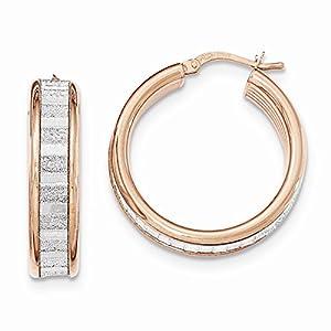.925 Sterling Silver 28 MM Rose-Tone with Glitter Hoop Earrings