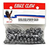 Eagle Claw Removable Split Shot King Pack, 180 Piece (Plain, Size-4)