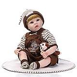 NPKDOLL Renacer La Muñeca De Vinilo Silicona Suave 22 Pulgadas 55 Centímetro Magnética Boca Realista Niño Niña Mono De Juguete De Marrón Reborn Doll A1ES