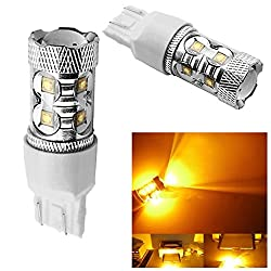 See 10Pcs 50W Yellow Amber T20 7443 W21/5W High Power LED Car LED Brake Light Stop Bulb Details