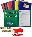 C-Line Two-Pocket Heavyweight Poly Portfolio with Prongs, For Letter Size Papers, Includes Business Card Slot, 5-pack with free stapler
