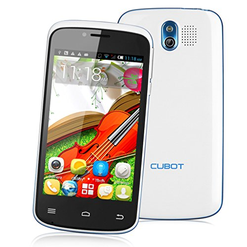 Weiß Dual SIM Cubot GT95 4.0 Zoll 3G Smartphone Android 4.4 MTK6572 Dual Core Mobile Phone 4G ROM WIFI ohne Vertrag(kein GPS) DE