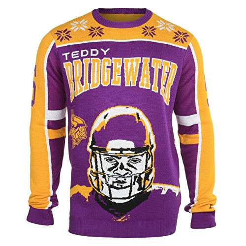 NFL Minnesota Vikings Teddy Bridegewater Unisex NFL Player Ugly Sweater, Small