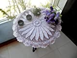 DIAIDI Round TableCloths, Crochet Tablecloth Rural Amercian Table Covers Vintage White Table Overlay Dining Table Cloth,Tablecloths for Kitchen Wedding Parties
