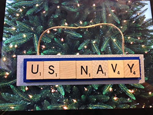 US Navy Scrabble Tiles Ornament Handmade Holiday Christmas Wood