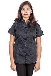 Juee Women's Printed Casual Shirt (JU100SY1HFBLK) (Small)