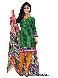 Vibes Womens Cotton Patch Work Straight Dress Material (V247-1003 _Green _Free Size)