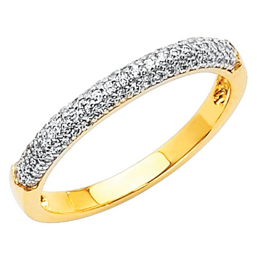 14K Yellow Gold High Poliosh Finish Round-cut Top Quality Shines CZ Cubic Zirconia Ladies Wedding Band Ring - Size 4.5