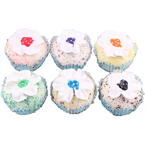 Dream Travel Pack of 6 Simulation Small Cream Flower Shaped Cupcake Artificial Fake Cake Model Desert Food Kids Toy Home Kitchen Party Decoration Store Market Display Photography Props, Color Random (Display Fake Cupcakes compare prices)