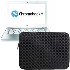 Evecase Premium Neoprene Zipper Sleeve Case Travel Carrying Storage Computer Bag for HP Chromebook 14 14-Q039wm / 14-q070nr/ 14-c002sa Pavilion Chromebook/ 14-Inch Sleekbook Ultrabook Laptop - Black