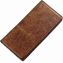 Itslife Men Vintage Look Genuine Leather Long Bifold Wallet