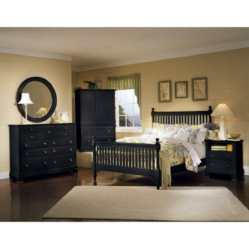 Cottage Black Slat Bedroom Set (California King) by Vaughan-Bassett