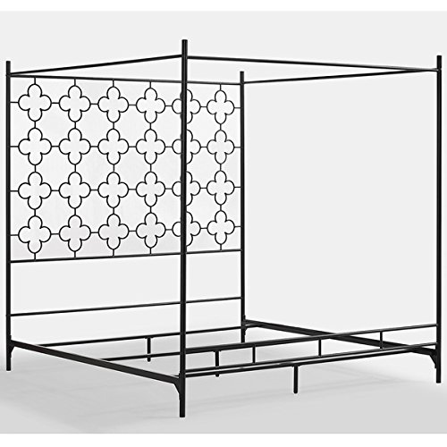Metal Canopy Bed Frame Full Sized Adult Kids Princess Bedroom Furniture * Black Wrought Iron Style Vintage Antique Look * Hang Shear Curtains or Mosquito Nets * Bedding Pillow Not Included (Full) 1