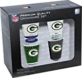 NFL Green Bay Packers Shot Glass Collector Set (4-Piece), 2-Ounce, Clear
