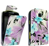 PU Leather Flip Case For SAMSUNG GALAXY MINI GT-S5570 S5570 VARIOUS DESIGNS + STYLUS PEN (BLUE FLOWER ON PURPLE)