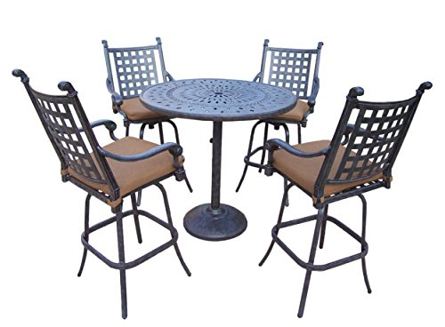 Oakland Living Belmont 5 Piece Bar Table Set With Sunbrella Cushions 42 Inch