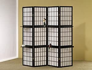 Room Divider Panel Folding Screen with Wood Shelves in Black Finish
