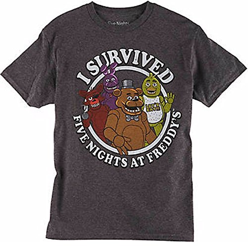 Five Nights At Freddy's I Survived Charcoal Youth Tee Shirt Medium