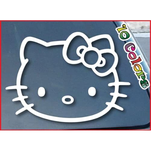 Hello Kitty Car Window Vinyl Decal Sticker 8 Wide (Color White)