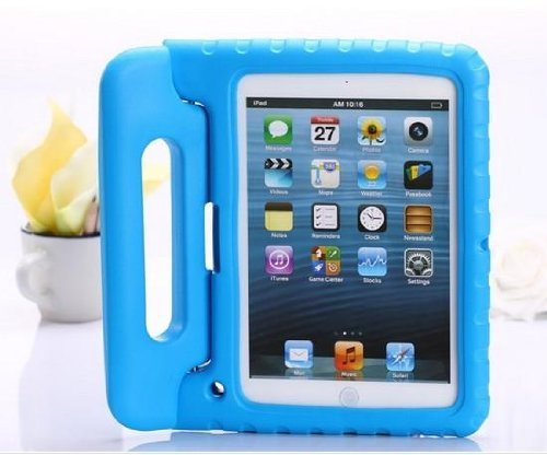 Carry360 Kids Safe Shock Proof Thick Foam Case Handle Stand For Ipad 2/3/4 With Handle(Color Blue)