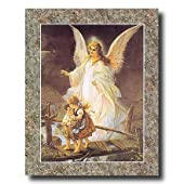 Guardian Angel With Children On Bridge Religious #2 Home Decor Wall Picture 16x20 Art Print