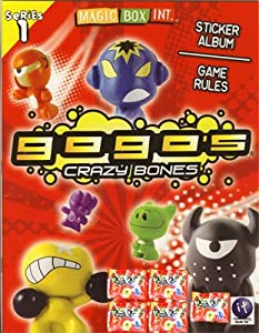 Crazy Bones Gogo's Series 1 Sticker Album & Game Rules Book Includes 5 Crazy Bone 3Packs by Magic Box Int.